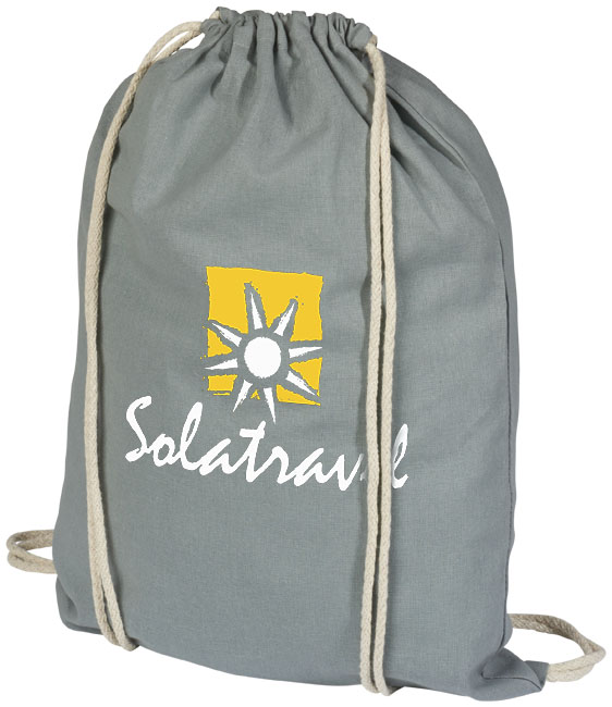 Cotton drawstring bag grey