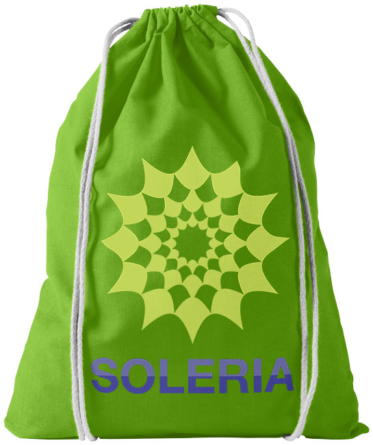 Cotton drawstring bag lime green