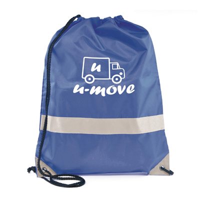 Reflective drawstring bag blue