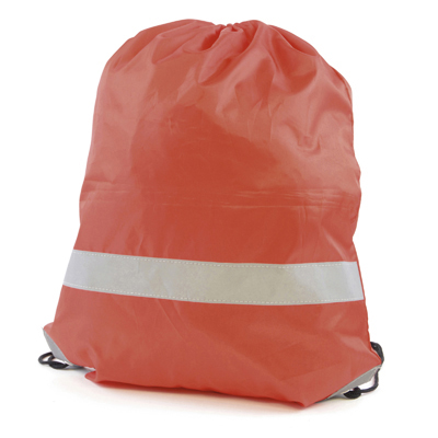 Reflective drawstring bag red
